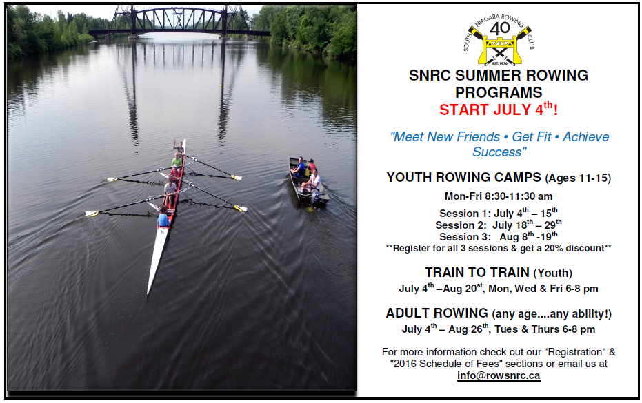 SNRC Summer Rowing Programs 2016